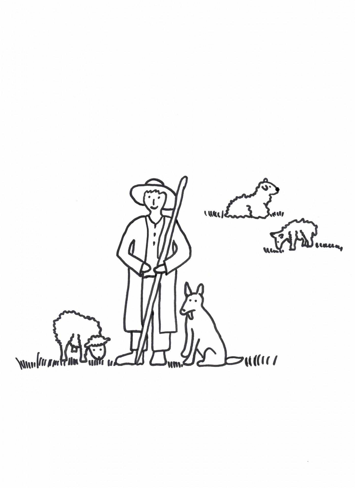 Schäfer mit Schafen und Hund