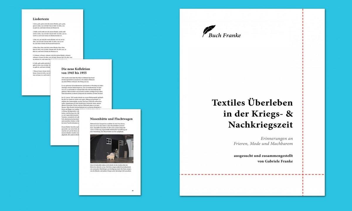 """Cover und Beispielseiten aus dem Buch """"Textiles Überleben"""""""